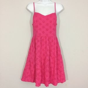 Old Navy Womens M Pink Embroidered Sun Dress